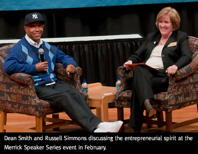 Dean Darlene Smith chats with Russell Simmons.